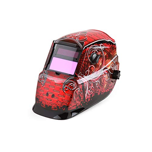 Lincoln Electric-K2933-1 Auto Darkening Welding Helmet, Red/Black, 600S, 9 to 13 Lens Shade, Plate Height 4-3/10 inches, Plate Width 3-1/2 inches, Viewing Area 3-4/5 inches x 1-7/10 inches
