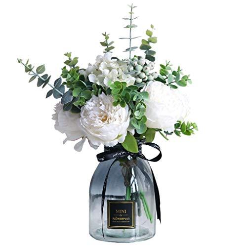 WXL Gefälschte Blume Simulation Pfingstrose Rose Bouquet Vase Dekorative Gefälschte Blumenschmuck Hochzeit Hause Wohnzimmer Blume
