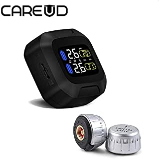 TPMS for Motorcycle : Original CAREUD Wireless Motorcycle TPMS Tire Pressure Monitoring System Motor Tyre Aotu Alarm 2 External Sensor Moto Tools