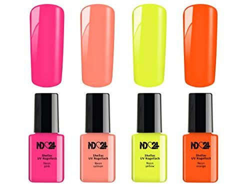 4 x 12ml - NEON Collection SPAR SET - SHELLAC UV Nagellack - UV LED Color Nail Polish PINK ROSA ORANGE GELB - GelLack Soak Off Gel - MADE IN GERMANY