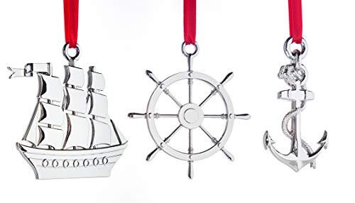 Klikel Silver Christmas Ornament - Nautical Ornament for Christmas Tree - Boat Helm and Anchor Christmas Ornament - Keepsake for Sailor - Non-Tarnish Metal - Set of 3 Ornament