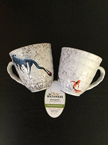 Crane and Koi Coffee/Tea Cup-One Hand Painted Asian Mug (Unique Gift for...