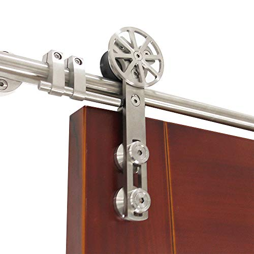 DIYHD 6.6ft Stainless Steel Brushed rotatable Spoke Wheel Sliding barn Wood Door Hardware
