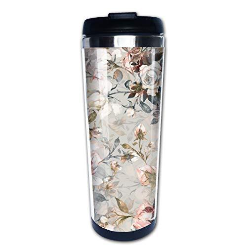 Cavdwa Kaffeebecher mit schönem Rosenmuster, Aquarell-Bouquets, schöner Stil, Edelstahl, isoliert, mit Deckel, Fassungsvermögen 400 ml