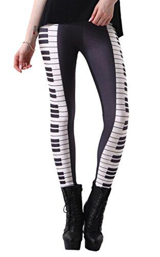 Bigood Femme Leggings Sexy Collant Elastique de Moulante Slimmer Imprimée Jambe Transparent Piano