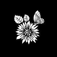 車のステッカー 14.1cmx15.8cm珍しい美しい花蝶ビニールポーズの花の車は黒/銀です (Color : 2)