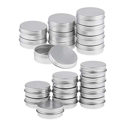 harayaa 20Pcs Vide Pot Cosmétique En Aluminium Récipient En Étain Argent 15 Ml 25 Ml
