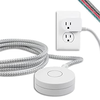 Cordinate Designer On/Off Switch Plug 6 Ft Braided Power Cord 3 Prong Slip Resistant Base Tabletop or Wall Mount Perfect for Lamps/Seasonal Lights White/Gray 41095