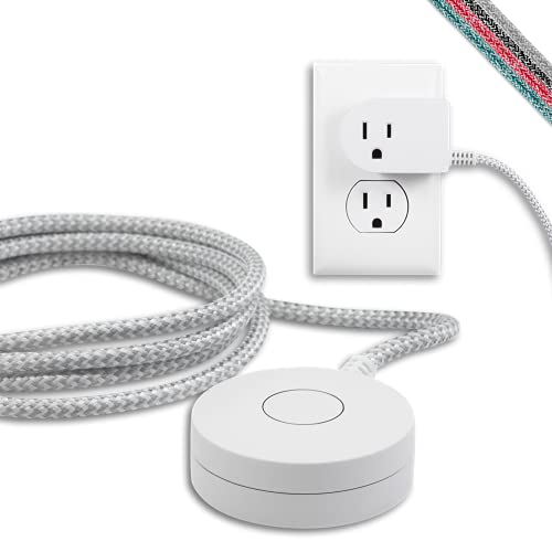 Cordinate Designer On/Off Switch Plug, 6 Ft Braided Power Cord, 3 Prong, Slip Resistant Base, Tabletop or Wall Mount, Perfect for Lamps/Seasonal Lights, White/Gray, 41095