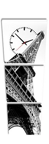 Quadrato Orologio de Parete Torre Eiffel in Bianco e Nero Parigi Francia