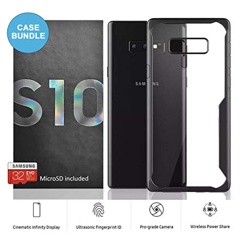 Samsung Galaxy S10 Factory Unlocked Phone 128GB (Prism Black) with Shockproof Case and 32GB MicroSD Card Bundle