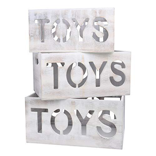 BELLE VOUS Spielzeugkiste (3 Set) - Holzkiste mit Griffen - Holz Aufbewahrungskiste, Holzkisten für Kinder Spielzeug, Werkzeuge -Dekokiste Holztruhe (Weiß Getünchte)