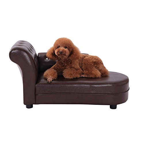 PawHut Dog Bed Pets Sofa Luxury Pets Couch Wooden Sponge PVC (Brown)