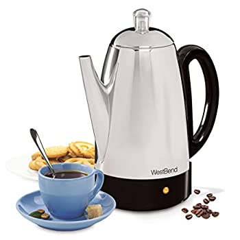 West Bend 54159 Classic Stainless Steel Electric Coffee Percolator with Heat Resistant Handle and Base Features Detachable Cord, 12-cup, Silver