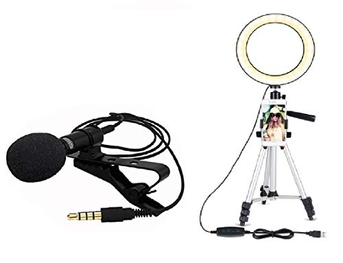 Pikyo YY08Q Big Ring Shooting Light for Photoshoot & Video-Recording with Good Qualtiy Sound Recording Collar Mic for Live- Streaming, You-Tube, Speech, Interviews Supported with All Devices