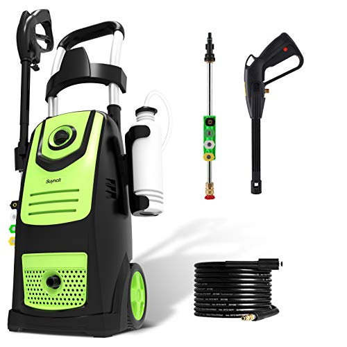 Suyncll Pressure Washer 3800PSI Max 2.8 GPM Electric Pressure Washer High Power Washer Machine Cleaner with Nozzles, Spray Gun,Detergent Tank For Cleaning Homes,Cars,Driveways,Patios (Green)