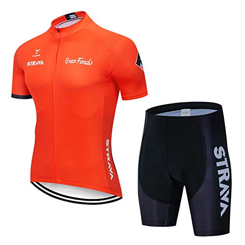 Heren Fietsshirt Korte Mouw Full Zip Fietskleding Set Sneldrogende Bib Shorts met 9D Gel Padded