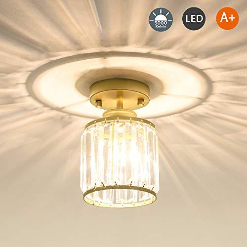 E27 Deckenleuchte Moderne Kristallglas Deckenlampe Innen Runde Deckenbeleuchtung Gang Korridor Flur Schlafzimmer Badezimmer Beleuchtung Warmes Licht Deckenspot,Gold