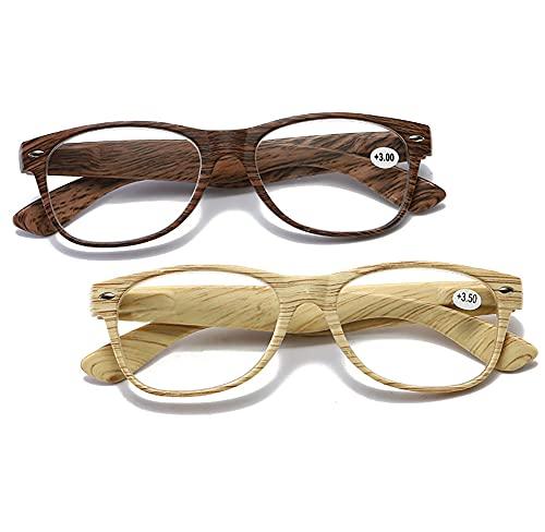 YXYLQ Conjunto de 2 Piezas de Gafas de Lectura, Gafas de luz Anti-Azul de Grano de Madera, Gafas lectoras para Hombres y Mujeres,+2.5