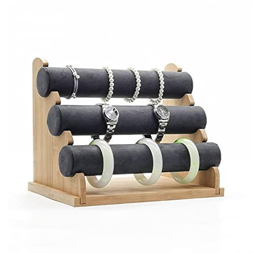 RVAXQ Caja de joyería extraíble 3 Niveles bambú Pulsera exhibir joyería Organizador Titular Stand Bangles joyería Pantalla Pantalla de Almacenamiento Rack Tamaño: 18.1 x 23.8 x 30.2 cm