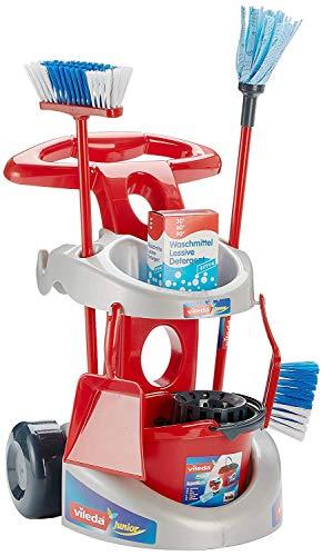 Theo Klein-6721 Vileda carrito de limpieza con accesorios, j