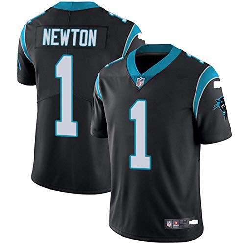 GLZTY T-Shirt NFL Trikot, Carolinapanthers Panther 1# Newton Fußball Wear Kurzarm Sport Top,Black-1,XXL