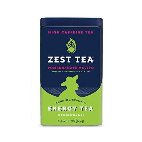 Zest Tea Premium Energy Hot Tea, High Caffeine Blend Natural & Healthy Black Coffee Substitute, Perfect for Keto, 135 mg Caffeine per Serving, Pomegranate Mojito Green Tea, Tin of 15 Sachet Bags