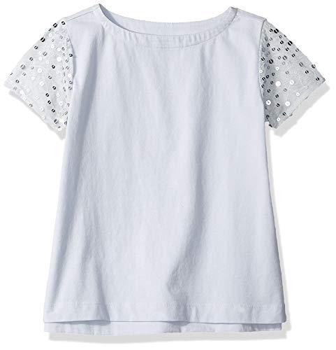 Look By Crewcuts T-Shirt mit Pailletten an den Ärmeln, für Mädchen, Hellblau / Silber, 6-7