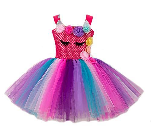 ASKEN Hochzeit Blumenmädchen Tutu Kleid Geburtstagsfeier Prinzessin Cosplay Karneval Pageant Ballkleid Fuchsia M