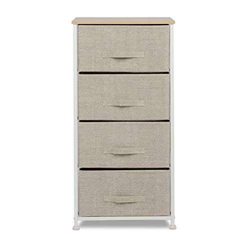 Amolife Wide Dresser Storage Tower - Sturdy Steel Frame, Wood Top, Easy Pull Fabric Bins - Organizer Unit for Bedroom, Hallway, Entryway, Closets - Textured Print, 4 Drawers