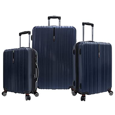 Traveler's Choice Tasmania Polycarbonate Expandable 8-Wheel Spinner 3-Piece Luggage Set, Navy (21 /25 /29 )