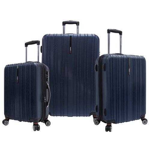 Traveler's Choice Tasmania 100% Pure Polycarbonate Expandable Spinner Luggage, Navy, 3-Piece Set