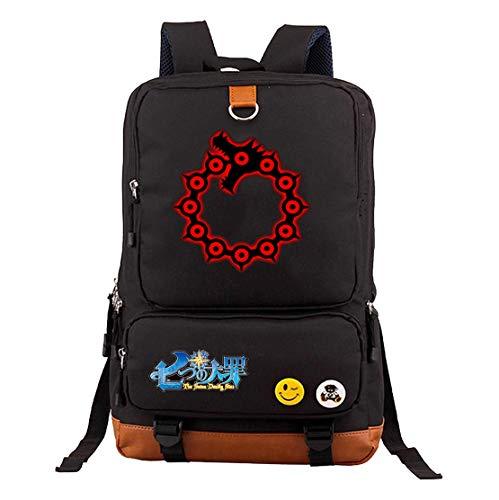 YOYOSHome Anime The Seven Deadly Sins Cosplay Bookbag Daypack Mochila para computadora portátil mochila escolar, 12 (Negro) - yyyo3