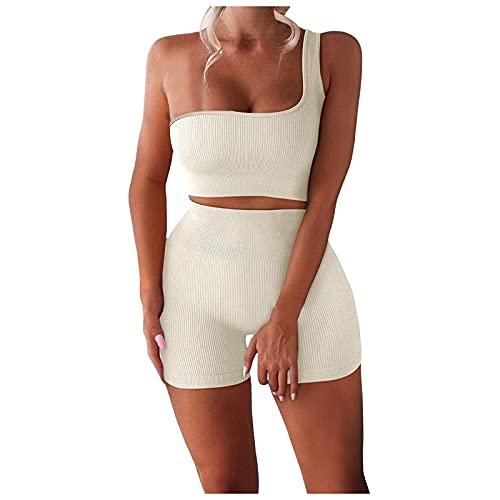 Benficial Yoga Outfit Freizeitanzug Damen gerippte Crop Tank Shorts mit hoher Taille Schulterfrei 2-teilige Nahtlose Hosen und Sport Crop Top Trainingsanzug Sportanzug Gym Set