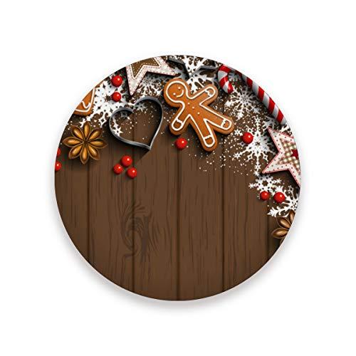 Juego de 1 posavasos de cerámica con diseño de elementos navideños con textura de madera, redondo, absorbente, para bebidas, café, tazas, para casa, oficina, bar, cocina, cerámica, multicolor, 2 unidades