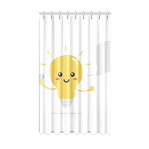 N\A Vorhang für Schlafzimmer Lustige gelbe Neue Idee Glühbirne Innenfenster Vorhang 50 x 84 Zoll EIN Stück für Patio Glasschiebetür/Schlafzimmer