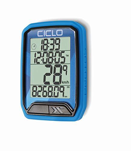 CICLO PROTOS 213 drahtloser Fahrradcomputer, in blau, mit 13 Funktionen