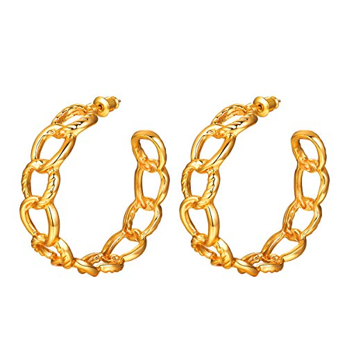 FOCALOOK Simple Metal C-shaped Earrings - 18K Gold Plated Dangle Drop Fashion Jewelry Hypoallergenic Geometric Statement Three-dimensional Interlocking Hoop Earrings for Women(100% 925 Silver Needle)