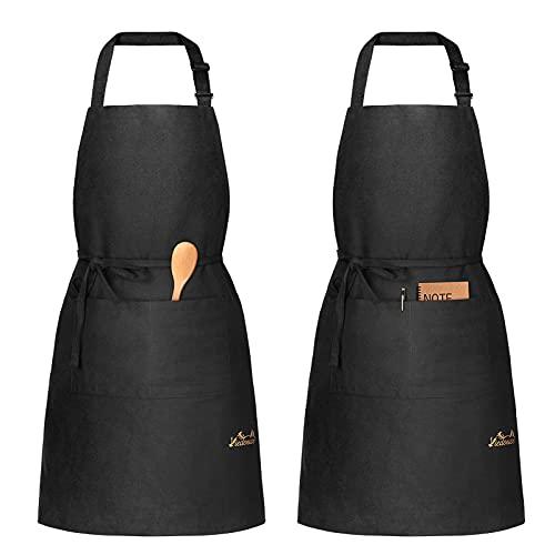 Viedouce 2 Pack Tabliers de Cuisine,Coton Tablier avec Poches pour Homme Femme,Réglable Noir Tabliers pour Barbecue Jardin,Café,Tablier pour Chef,Boulanger,Serveurs,Serveuse