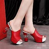 JUSTMAE Zapatillas con Suela de Cuero para Mujer, Zuecos Sexis de tacón Alto para Mujer, Sandalias con Plataforma y Punta Abierta Negros, Zapatos