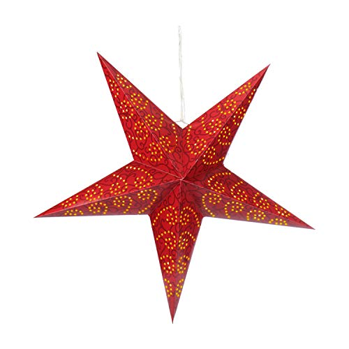 com-four luminous star in 3D with LED lighting in warm white for hanging, and stable paper star in red (01x star - red)