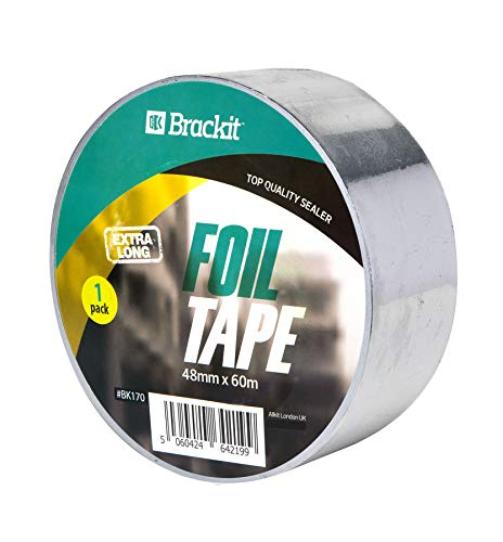 Aluminiumband Alufolie Extra lang 60m x 48mm Aluband Alu-Klebeband selbstklebend hitzebeständig leitfähig Aluminiumband Rolle Klebefolie Reparaturband zum Abdichten und Dämmen Isolierband
