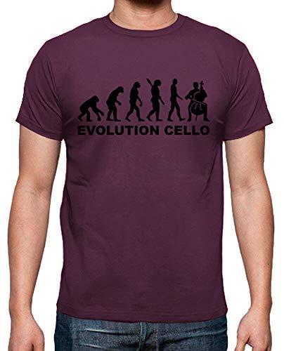 latostadora - Camiseta Cello Evolucion para Hombre Burdeos XL