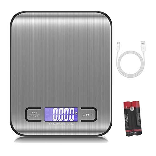 Liaiqing Escalas de Cocina Digital, Escamas de Alimentos de 11 Libras / 5kg, Escalas de cocción de Acero Inoxidable con Pantalla LCD Recargable USB, Pantalla LCD a Fondo Básculas de Cocina