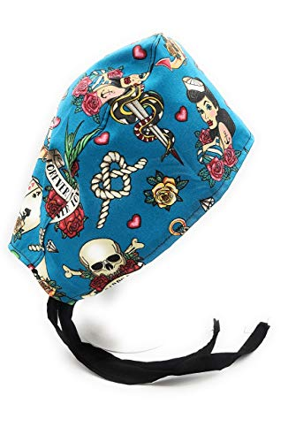 Tattoo Classic Anchor Skull Pinup girl Sailor Surgical Scrub Cap Medical Hat Hospital Cover