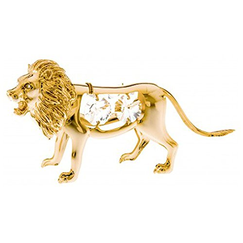 KGNC Lion 24k Gold Plated Metal Figurine with Spectra Crystals by Swarovski
