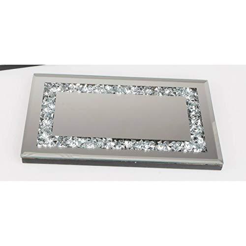 formano Spiegeltablett, Deko Tischspiegel Mirror Stones L. 28cm Silber Glas WA