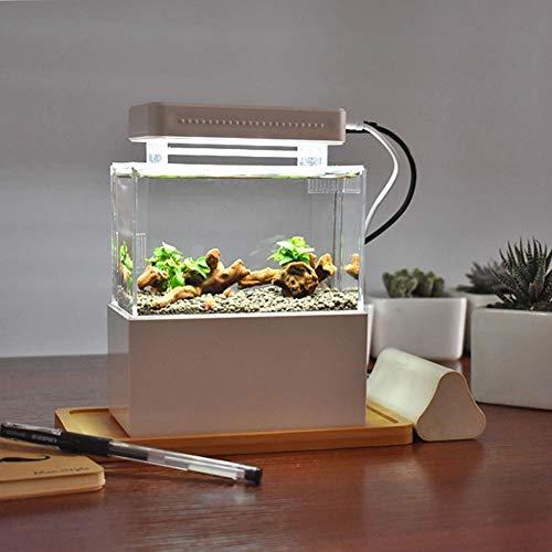 KHTO Mini Kunststoff Aquarium Portable Desktop Aquarium Fischschale mit Wasserfiltration LED & Leise Luftpumpe für Dekor (Weiß mit LED-Licht)