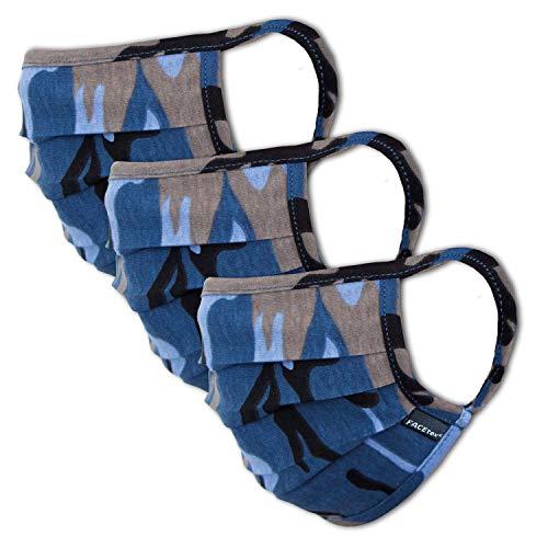 Facetex 3er-Pack Mundschutz Kinder Junge & Mädchen waschbar, camouflage blau | aus 100% Baumwolle Oeko-TEX 100 Standard Earloop-Design | wiederverwendbare Behelfs-Maske, Mund und Nasenschutz | Ab 10