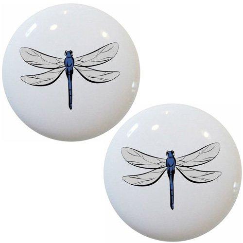 Set of 2 Dragonfly Ceramic Cabinet Drawer Knobs